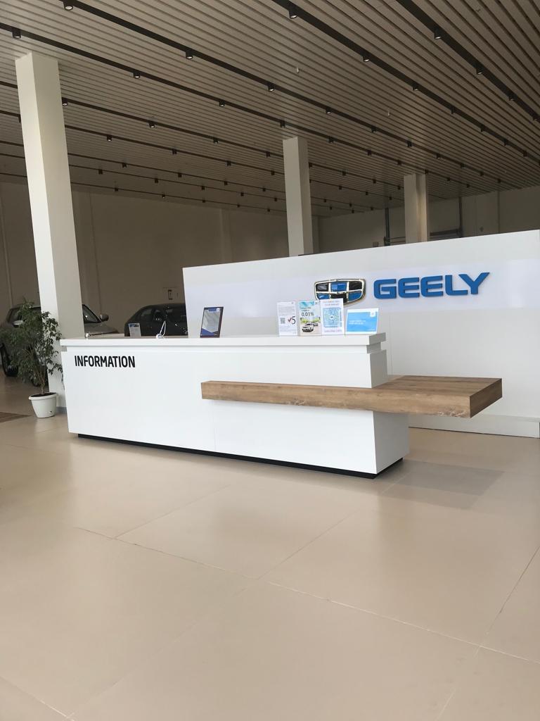 Изготовление мебели для автосалона Geely